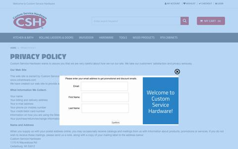 Screenshot of Privacy Page cshardware.com - Privacy Policy - captured May 13, 2017