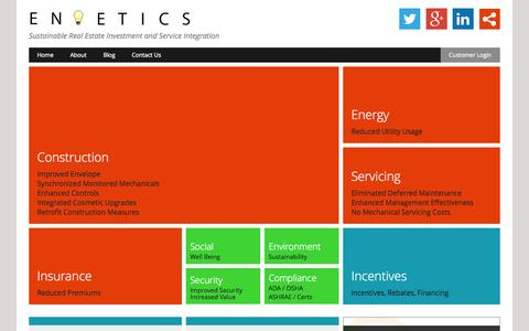 Screenshot of Home Page enoetics.com - Enoetics | Sustainable Real Estate Investment and Service Integration - captured Oct. 3, 2014