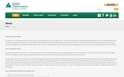 Screenshot of About Page janewengland.org - About  |  Junior Achievement of Northern New England - captured Oct. 6, 2014