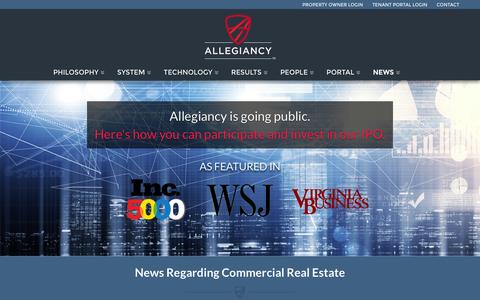 Screenshot of Press Page allegiancy.us - Commercial Real Estate Related News and ArticlesAllegiancy - captured Dec. 4, 2015