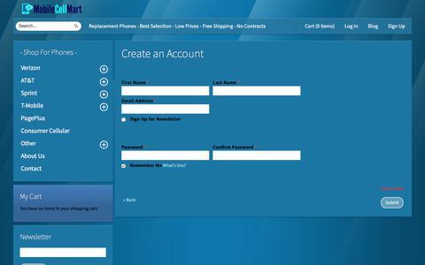 Screenshot of Signup Page mobilecellmart.com - Create New Customer Account MobileCellMart.com - captured Sept. 20, 2018