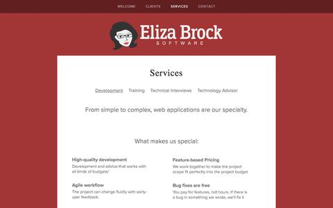 Screenshot of Services Page elizabrocksoftware.com - Services — Eliza Brock Software | Ruby on Rails Consultants in Nashville, TN - captured May 17, 2017