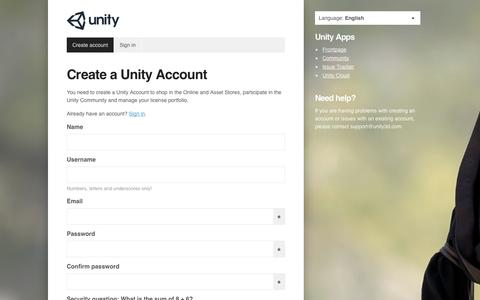 Screenshot of Signup Page unity3d.com - Unity - Accounts - captured Oct. 28, 2014