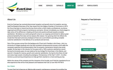 Screenshot of About Page everlinecoatings.com - About Us - EverLine Coatings and Services - captured Oct. 3, 2014