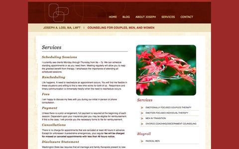 Screenshot of Services Page josephlosi.com - Services | Joseph Losi - captured Oct. 6, 2014