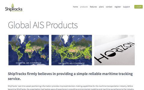 Screenshot of Products Page shiptracks.com - AIS Products - ShipTracks - captured July 27, 2018