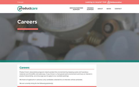 Screenshot of Jobs Page productcare.org - Careers - Product Care Association - captured Sept. 30, 2018