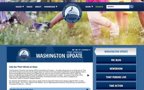 Screenshot of Home Page frc.org - FRC   Pro Marriage & Pro Life Organization in Washington DC - captured June 29, 2017
