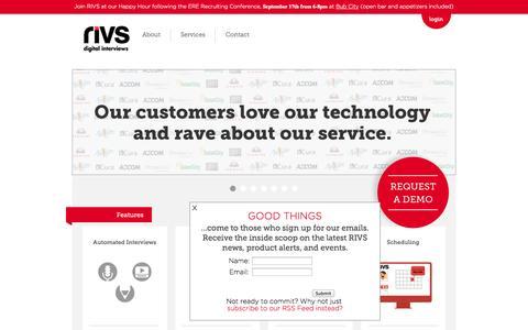 Screenshot of Home Page rivs.com - RIVS Digital Interviews   Video Interviews   Job Applicant Management   Efficient Hiring - captured Sept. 17, 2014