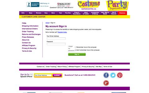 Screenshot of Login Page costumesupercentre.ca - Costumes for Halloween for Kids & Adults Buy From Costume SuperCentre.ca - captured Nov. 2, 2014