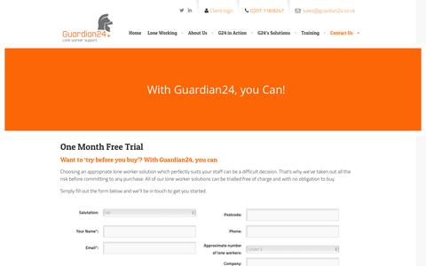 Screenshot of Trial Page guardian24.co.uk - Try Our Lone Worker Service for Free | Guardian24Guardian24 - captured Dec. 15, 2015