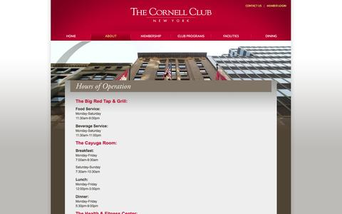 Screenshot of Hours Page cornellclubnyc.com - Cornell Club-New York   » Hours of Operation - captured Oct. 26, 2014