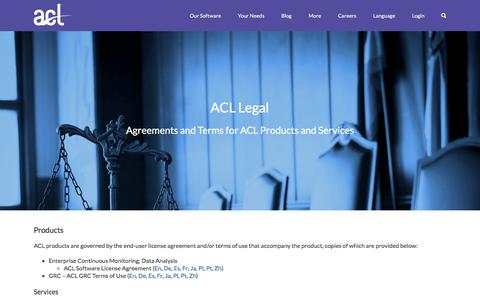 Screenshot of Terms Page acl.com - Legal – ACL - captured July 23, 2016