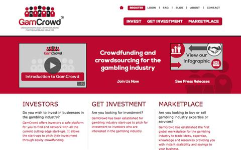Screenshot of Home Page gamcrowd.com - equity crowdfunding UK, crowdfunding UK, investment, how do I raise funds for my start up? Crowd sourcing UK - GamCrowd - captured Sept. 22, 2014
