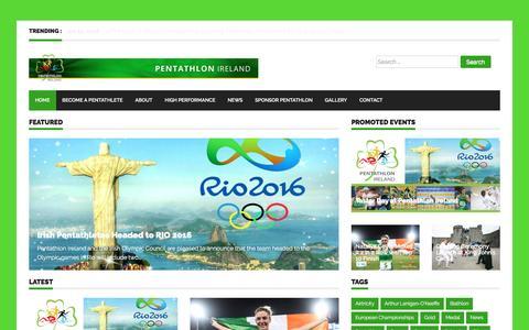 Screenshot of Home Page pentathlon.ie - Home - - captured Oct. 31, 2016