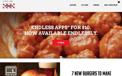 Screenshot of Home Page tgifridays.com - TGI Fridays Restaurant & Bar - captured April 4, 2017