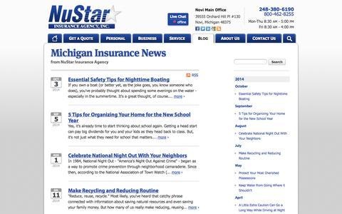 Screenshot of Press Page nustarinsurance.net - NuStar Insurance Agency News | NuStar Insurance Agency in Michigan - captured Oct. 7, 2014