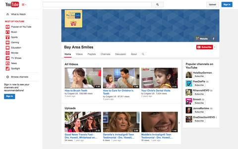 Screenshot of YouTube Page youtube.com - Bay Area Smiles  - YouTube - captured Oct. 23, 2014