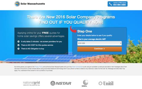 Screenshot of Landing Page solar-massachusetts.org - Solar Discounts from Solar Massachusetts | Solar Massachusetts - captured April 8, 2016