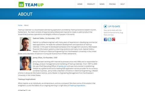 Screenshot of About Page teamup.com - About Teamup Calendar and the Teamup Team - captured Sept. 19, 2014