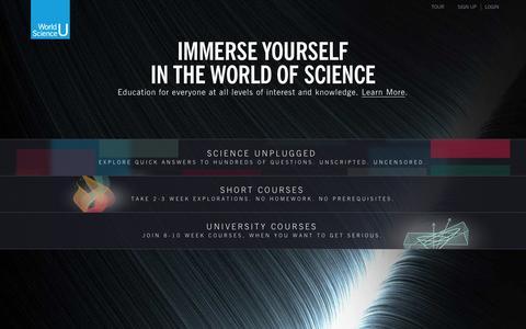 Screenshot of Home Page worldscienceu.com - World Science U - captured Sept. 18, 2014
