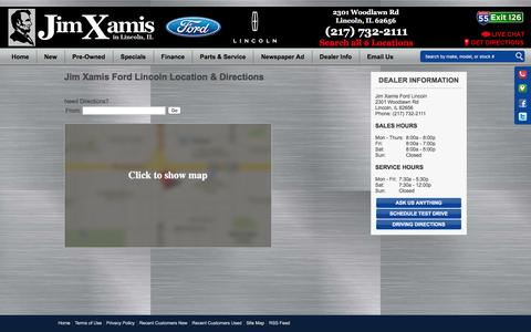 Screenshot of Maps & Directions Page jimxamis.com - Hours and Location Jim Xamis Ford Lincoln-Lincoln, IL Ford, LINCOLN - captured Feb. 11, 2016