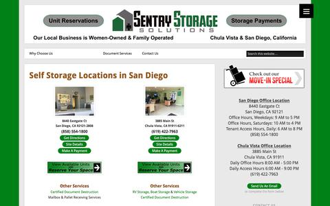 Screenshot of Locations Page sentrystorage.net - Self Storage Locations in San Diego - Sentry Storage Solutions - captured Feb. 27, 2018