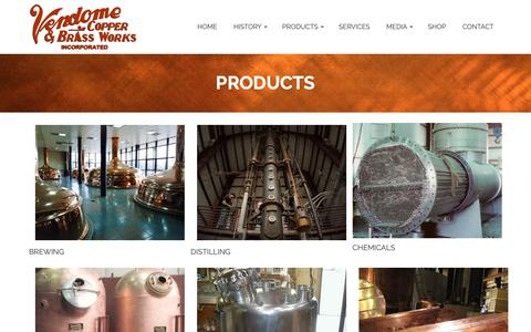Screenshot of Products Page vendomecopper.com - PRODUCTS – Vendome Copper & Brass Works INC - captured Oct. 18, 2018