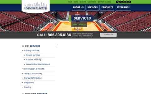 Screenshot of Services Page engineeredcontrols.com - Services - Engineered Controls - Building Control Technologies - captured Nov. 8, 2016