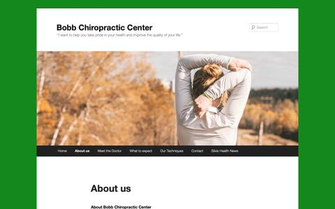Screenshot of About Page wordpress.com - About us | Bobb Chiropractic Center - captured Dec. 6, 2018