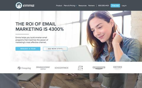 Screenshot of Home Page myemma.com - Email Marketing Services - Email Marketing Software - Email Marketing   Emma, Inc. - captured Oct. 28, 2015