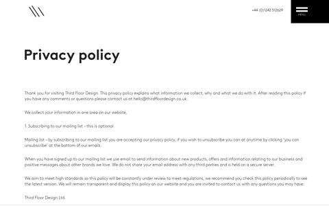 Screenshot of Privacy Page thirdfloordesign.co.uk - Privacy policy / Third Floor Design - captured Nov. 7, 2018