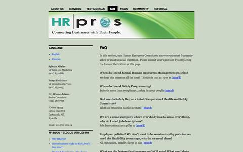 Screenshot of FAQ Page hr-pros.ca - Our Human Resources Consultants answer your questions | Human Resources Experts - captured Oct. 1, 2014