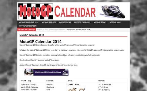Screenshot of Home Page motogpcalendar.com - MotoGP Calendar 2014 | MotoGP Calendar - captured Sept. 30, 2014