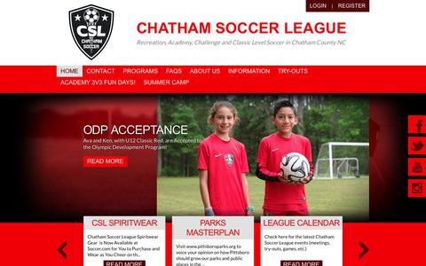 Screenshot of Home Page chathamsoccerleague.org - Home - captured May 16, 2017