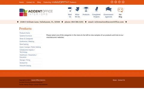 Screenshot of Products Page accentoffice.com - Products | Accent Office Interiors - captured Oct. 4, 2014