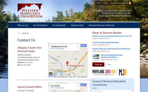 Screenshot of Contact Page westernmarylandconsortium.org - Contact Us | Western Maryland Consortium - captured Oct. 9, 2014