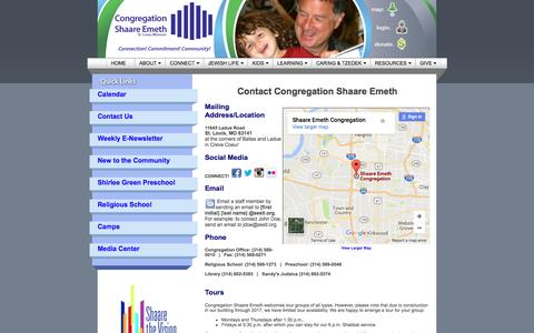 Screenshot of Contact Page shaare-emeth.org - Contact Us - Congregation Shaare Emeth, St. Louis - captured April 11, 2017