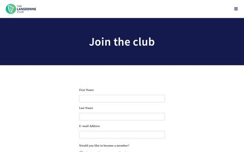 Screenshot of Signup Page lansdowneclub.com.au - Join the club - The Lansdowne Club - captured Oct. 20, 2018