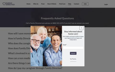 Screenshot of FAQ Page familydirected.com - (1) New Message! - captured July 19, 2019