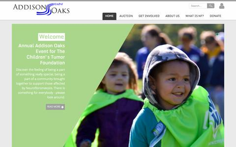 Screenshot of Home Page addisonoakswalk.org - The Addison Oaks Event for The Children's Tumor Foundation - captured Sept. 10, 2015