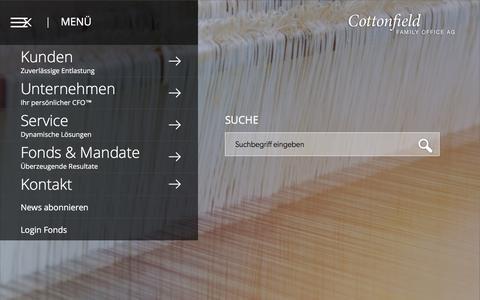 Screenshot of Menu Page cottonfield.ch captured Sept. 5, 2017