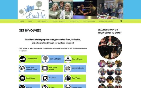 Screenshot of Home Page leadher.org - LeadHer | Challenging Women to impact the World for Christ - captured July 20, 2015