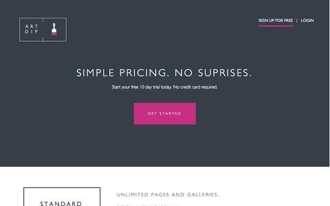 Screenshot of Pricing Page artdip.com - Artdip.com | Private Beta - captured Sept. 30, 2014