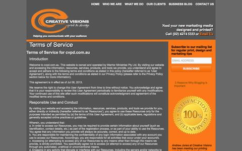 Screenshot of Terms Page cvpd.com.au - Terms of Service - Creative Visions Print and Design - captured Oct. 3, 2014