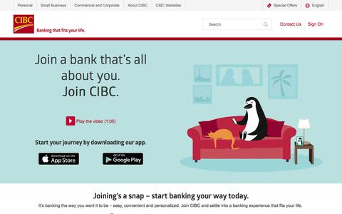 Screenshot of Signup Page cibc.com - Join | CIBC - captured March 31, 2016