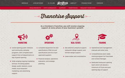 Screenshot of Support Page giordanos.com - Giordano's Franchise | Operations Support & Training - captured Aug. 3, 2017