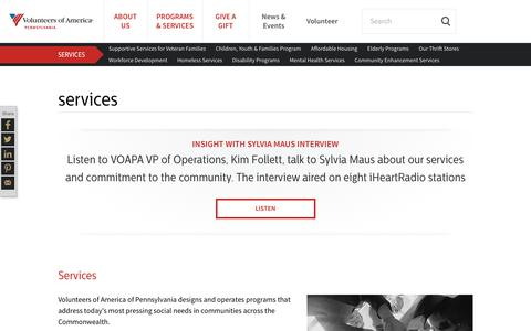 Screenshot of Services Page voapa.org - Volunteers of America of PA Services | Volunteers of America - captured Nov. 15, 2018