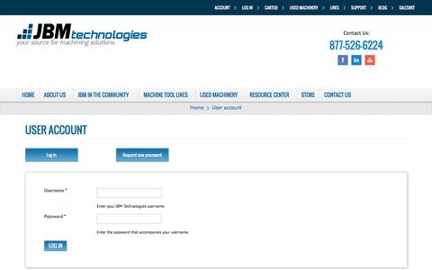 Screenshot of Login Page jbmtechnologies.com - User account   JBM Technologies - captured July 19, 2016