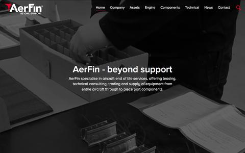 Screenshot of Home Page aerfin.com - AerFin // Aircraft Engine Operating Leasing, Financing, Engine Management Financial Services - captured Feb. 4, 2016
